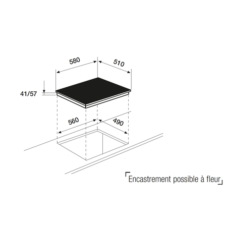 Dessin technique Table vitrocéramique 3 zones sensitive <br> 342 € PPI HT* - ATH63S - Airlux
