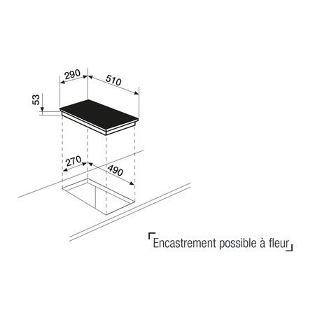 Dessin technique Domino induction noir <br> 349 € PPI HT* - ATI322BK - Airlux