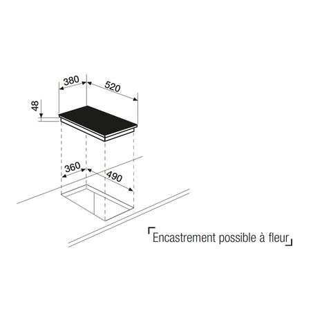 Dessin technique Domino induction 38 cm <br> 750 € PPI HT* - ATI42BBK - Airlux