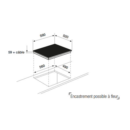 Dessin technique Table induction blanche 3 zones 60 cm <br> 546 € PPI HT* - ATI632WHN - Airlux