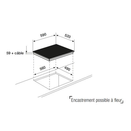 Dessin technique Table induction 4 zones 60 cm <br> 499 € PPI HT* - ATI642BKN - Airlux
