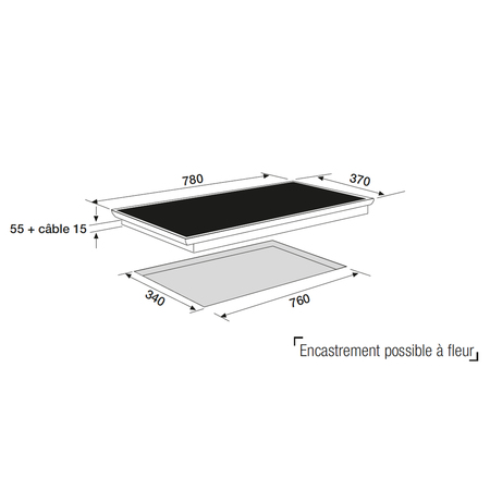 Dessin technique Table induction panoramique 80 cm <br> 750 € PPI HT* - ATI83BK - Airlux
