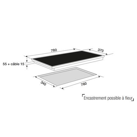 Dessin technique Table induction panoramique 80 cm <br> 750 € PPI HT* - ATI83BK - Airlux