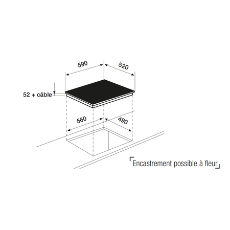 Dessin technique Table induction noire mate 60 cm <br> 899 € PPI HT* - ATIF63BKM - Airlux