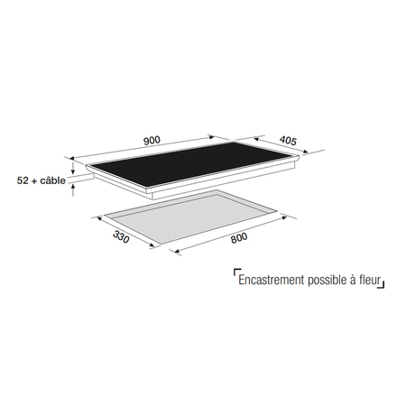 Dessin technique Table induction panoramique 90 cm <br> 1083 € PPI HT* - ATIF930BK - Airlux