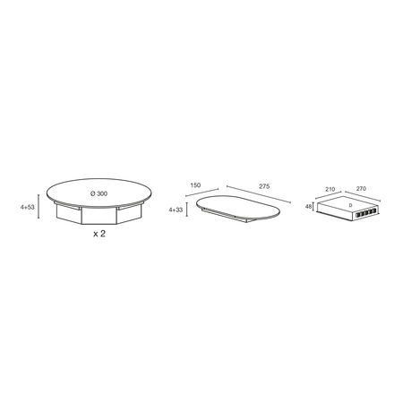 Dessin technique Table induction Nomade 2 zones <br> 1083 € PPI HT* - ATIN2BK - Airlux