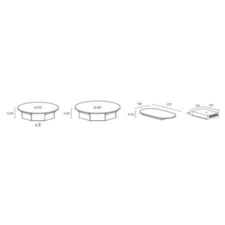Dessin technique Table induction Nomade 3 zones <br> 1250 € PPI HT* - ATIN3BK - Airlux