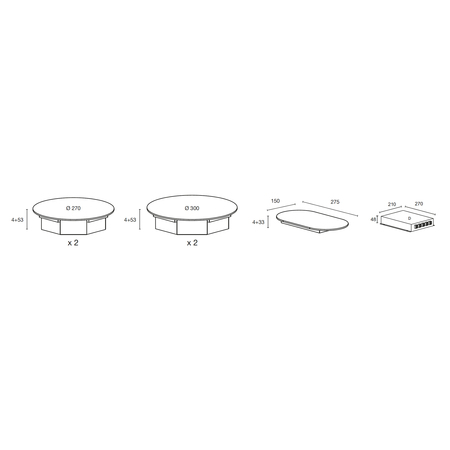 Dessin technique Table induction Nomade 4 zones <br> 1417 € PPI HT* - ATIN4BK - Airlux