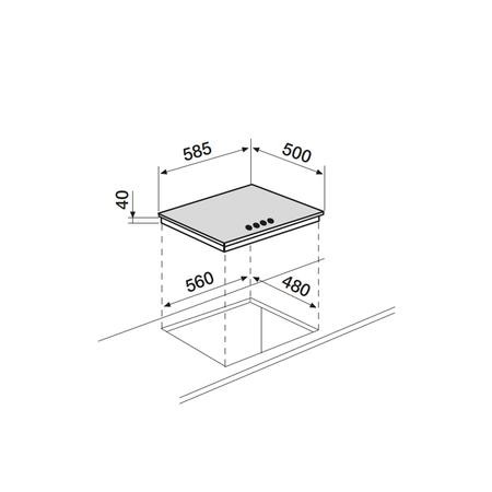 Dessin technique Table inox électrique 60 cm <br> 250 € PPI HT* - ATL640IX - Airlux