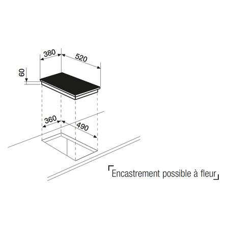 Dessin technique Domino teppanyaki induction 38 cm <br> 1333 € PPI HT* - ATPN42BK - Airlux
