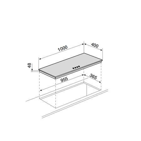 Dessin technique Table verre gaz panoramique 100 cm <br> 584 € PPI HT* - AV145HBK - Airlux