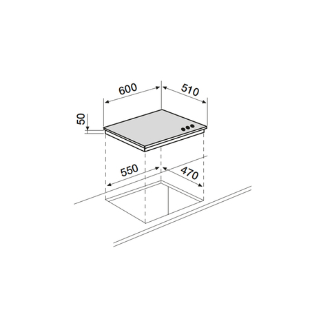 Dessin technique Table verre gaz 60 cm <br> 334 € PPI HT* - AV635HBK - Airlux