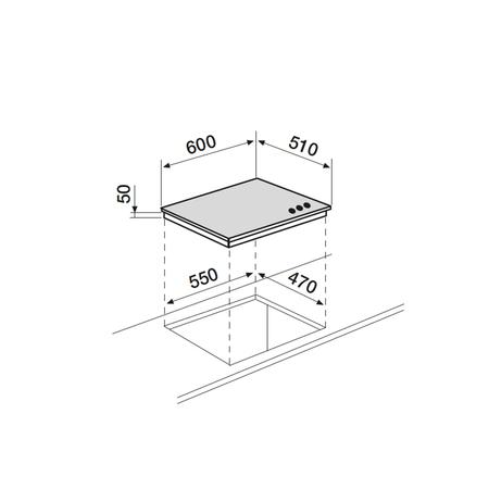 Dessin technique Table verre gaz 60 cm <br> 358 € PPI HT* - AV635HWH - Airlux