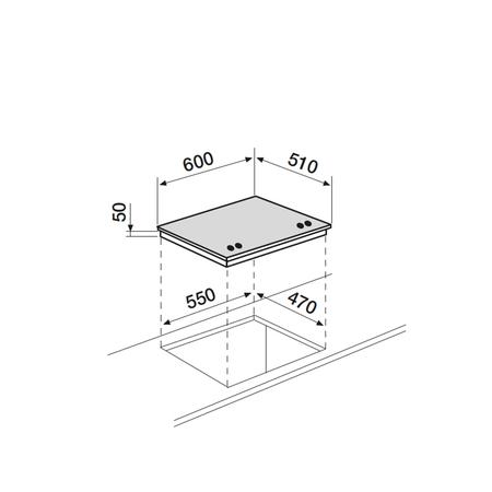 Dessin technique Table verre gaz 60 cm <br> 417 € PPI HT* - AV685HBK - Airlux
