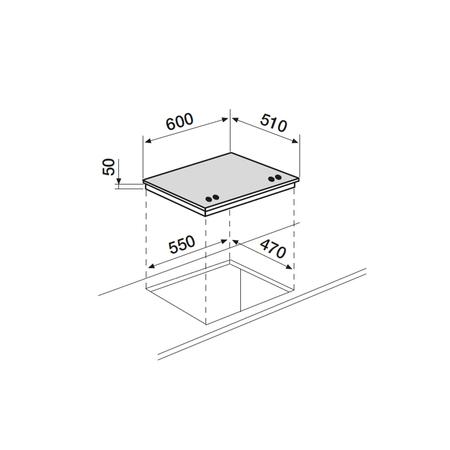 Dessin technique Table verre gaz 60 cm <br> 417 € PPI HT* - AV685HWH - Airlux