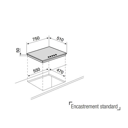 Dessin technique Table verre gaz 75 cm <br> 546 € PPI HT* - AV855HBK - Airlux