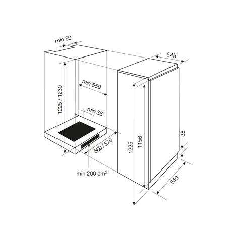 Dessin technique Réfrigérateur 1 porte niche 122,5 cm <br> 520 € PPI HT* - GRI200A - Airlux