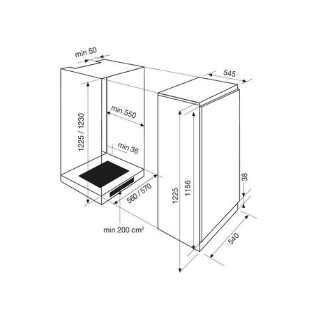 Dessin technique Réfrigérateur 1 porte intégrable - GRI210A - Airlux