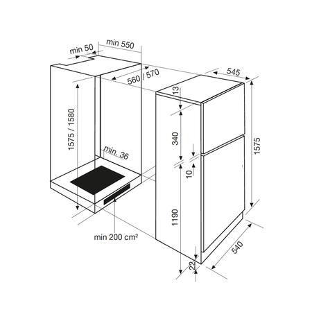Dessin technique Réfrigérateur 1 porte niche 158 cm <br> 660 € PPI HT* - GRI290DA - Airlux